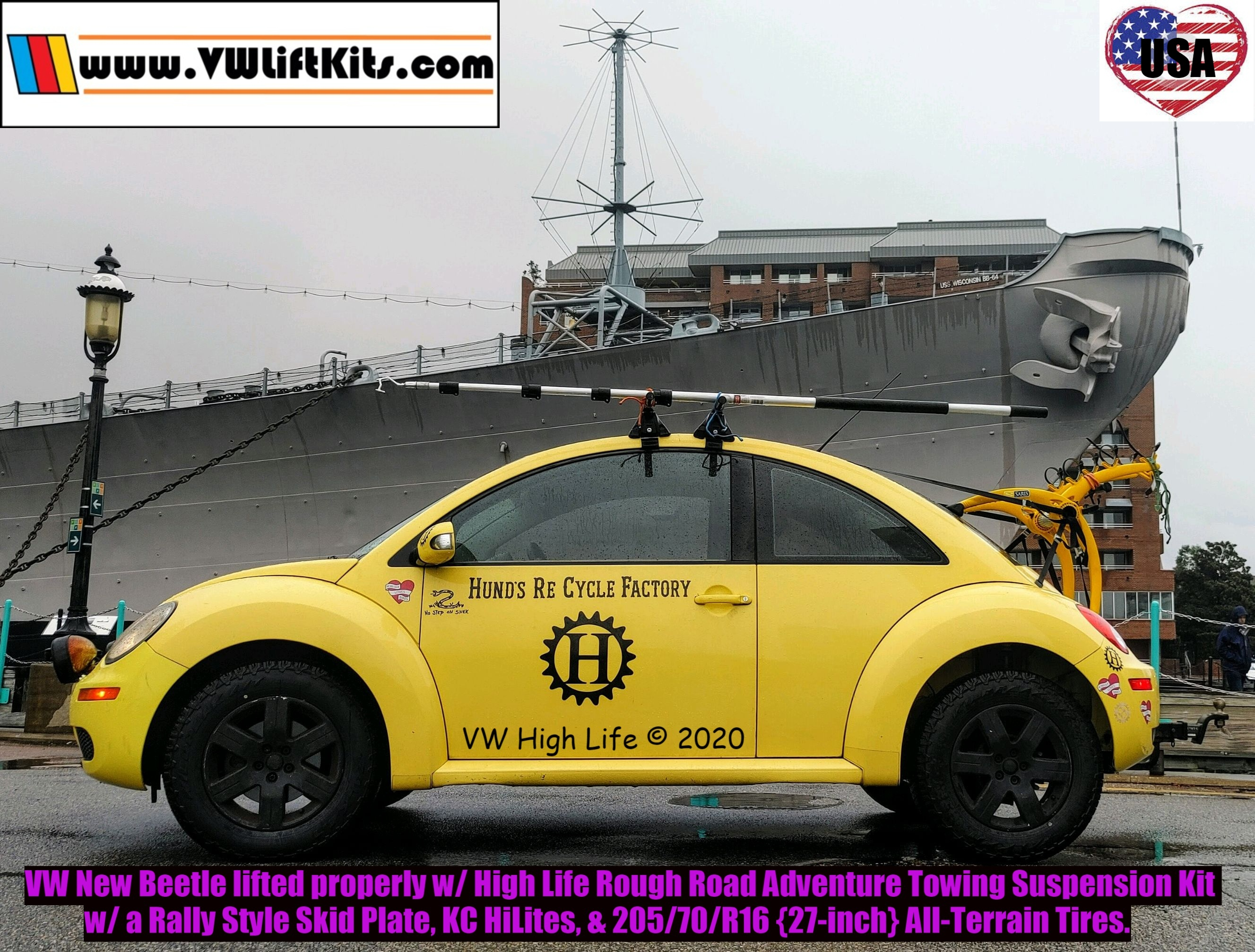 VW New Beetle Adventure Bug raised properly w/ the VW High Life Rough Road Towing Package featuring Bilsteins.