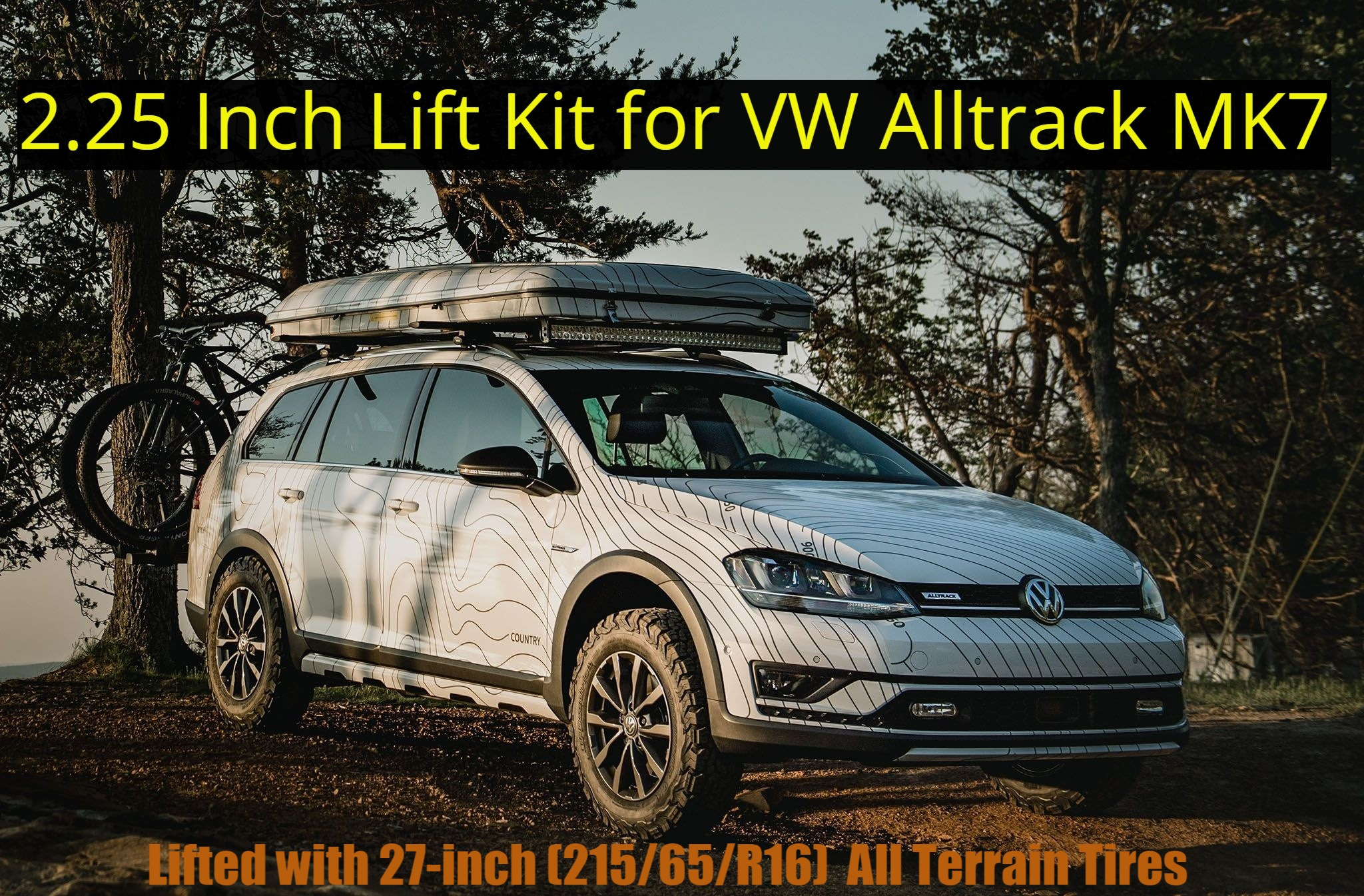 VW AllTrack / Golf Variant lifted 2.25 inches with 215/65R16 all-terrain tires.