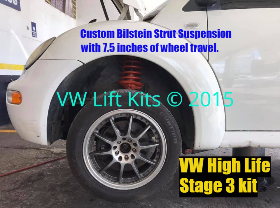 VW New Beetle lifted with Stage 3 Kit with 7.5 inches of wheel travel up front.