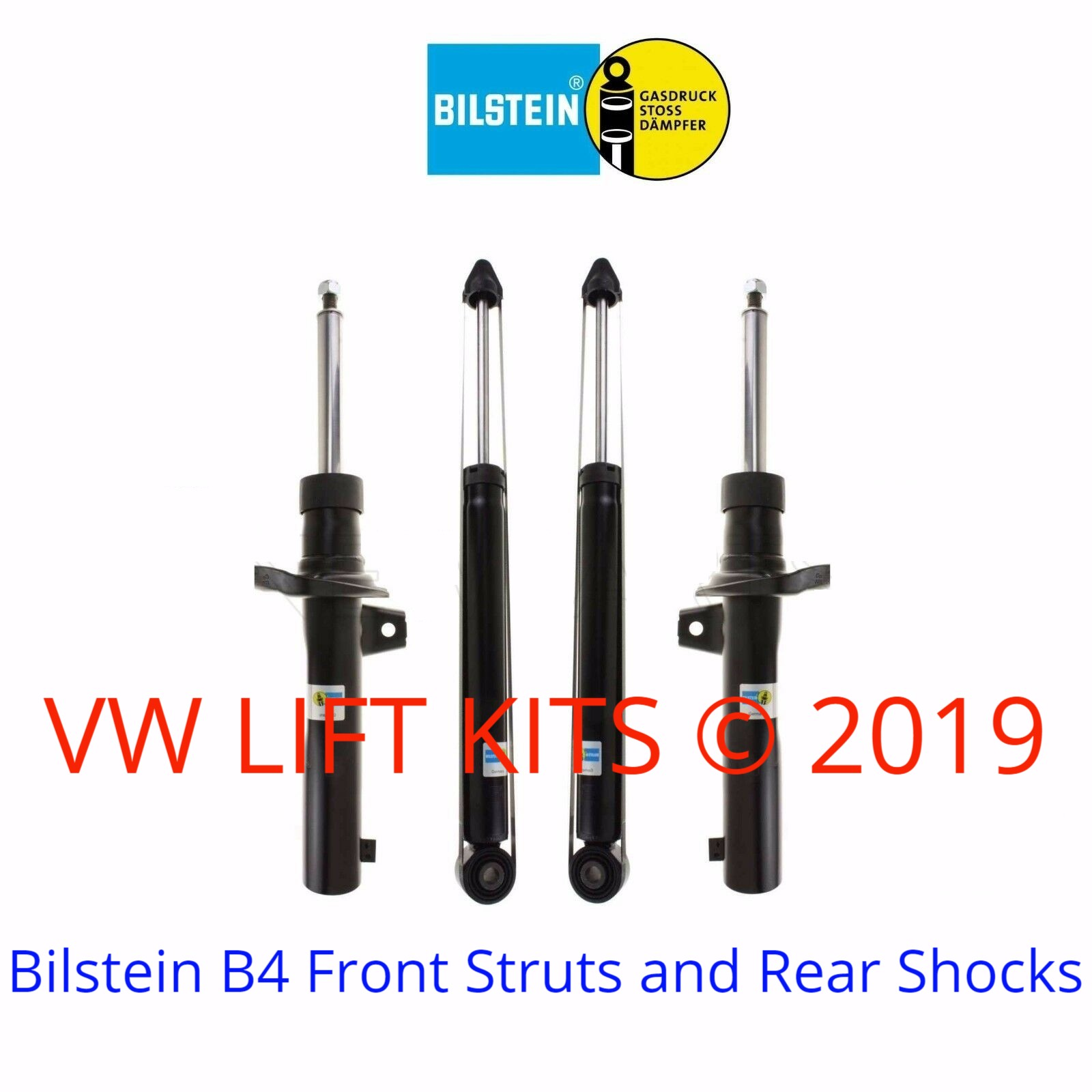 These twin tube Bilstein B4 front struts & rear shocks provide a firmer ride to work with the additional lift.