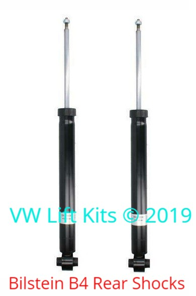 These twin tube Bilstein B4 rear shocks provide a firmer ride and are longer to work with the additional lift.