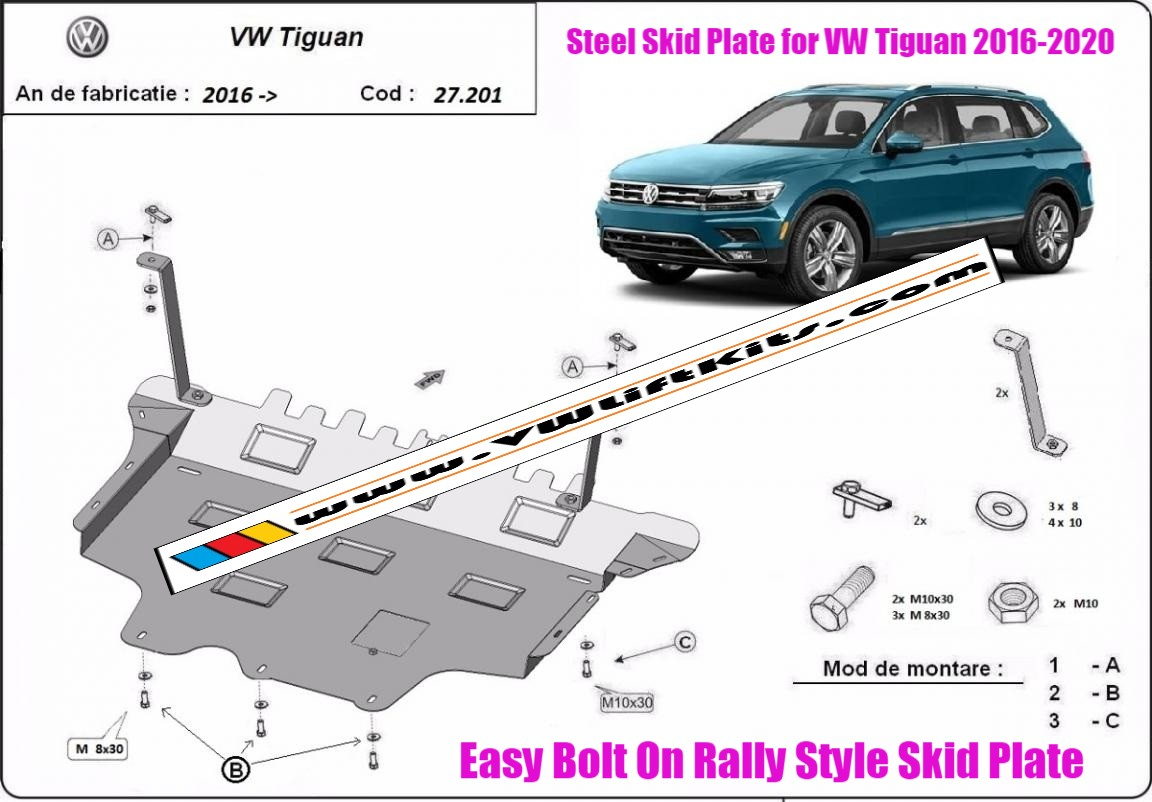 Bolt On Rally Style Steel Skid Plate for VW Tiguan 2016-2020.