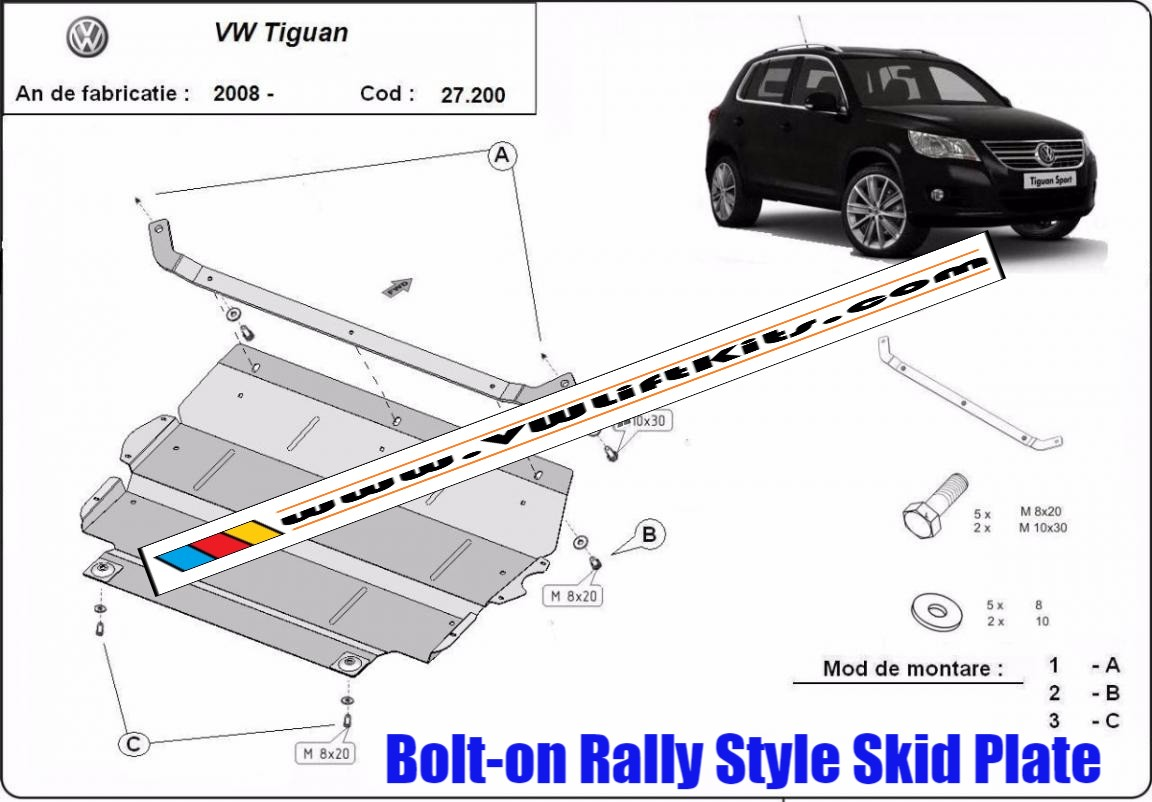 Bolt On Rally Style Steel Skid Plate for VW Tiguan 2008-2015.