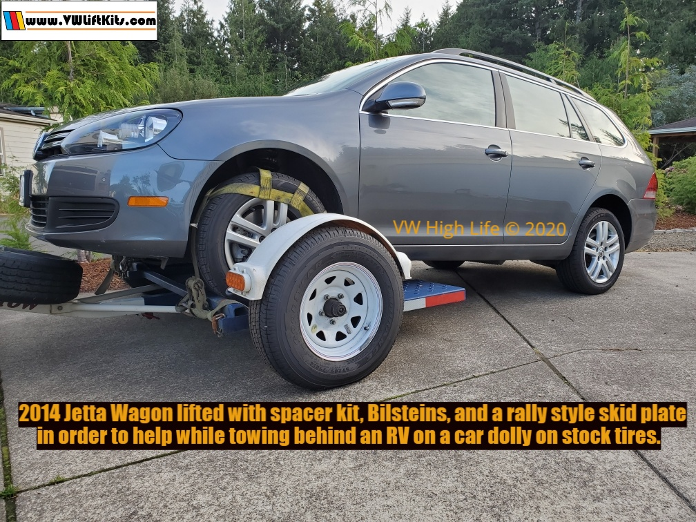 2014 VW Jetta Wagon MK6 lifted properly with Bilsteins, spacer kit, & an overland skid plate to tow behind an RV.