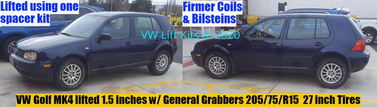 Vic's VW Golf MK4 lifted 1.5 inches w/ 205/75/R15 tires. Best Bolt On Lift Kit, no welding, no cutting, no drilling required.