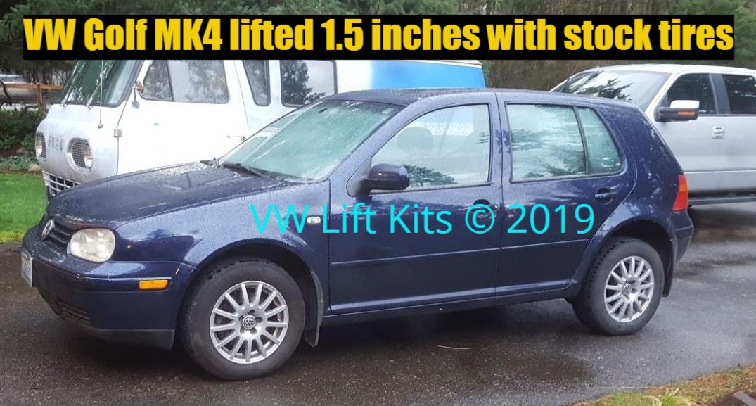 Vic's VW Golf MK4 lifted 1.5 inches with stock tires.  Best Bolt On Lift Kit, no welding, no cutting, no drilling required.