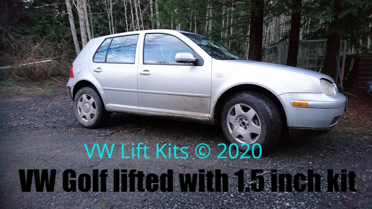 Becky's VW Golf MK4 Lifted with 215/65/R16 (27x8,5x16 inch) tires.  No welding, no cutting, no drilling required.