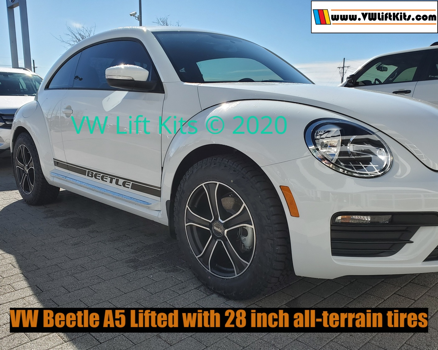 2019 VW Beetle A5 lifted with 215/65/R17 28-inch Falken all-terrain tires
