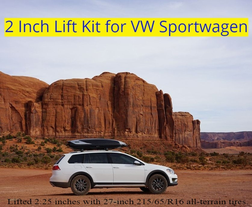 VW Sportwagen / Golf Estate lifted 2.25 inches with 215/65R16 all-terrain tires.