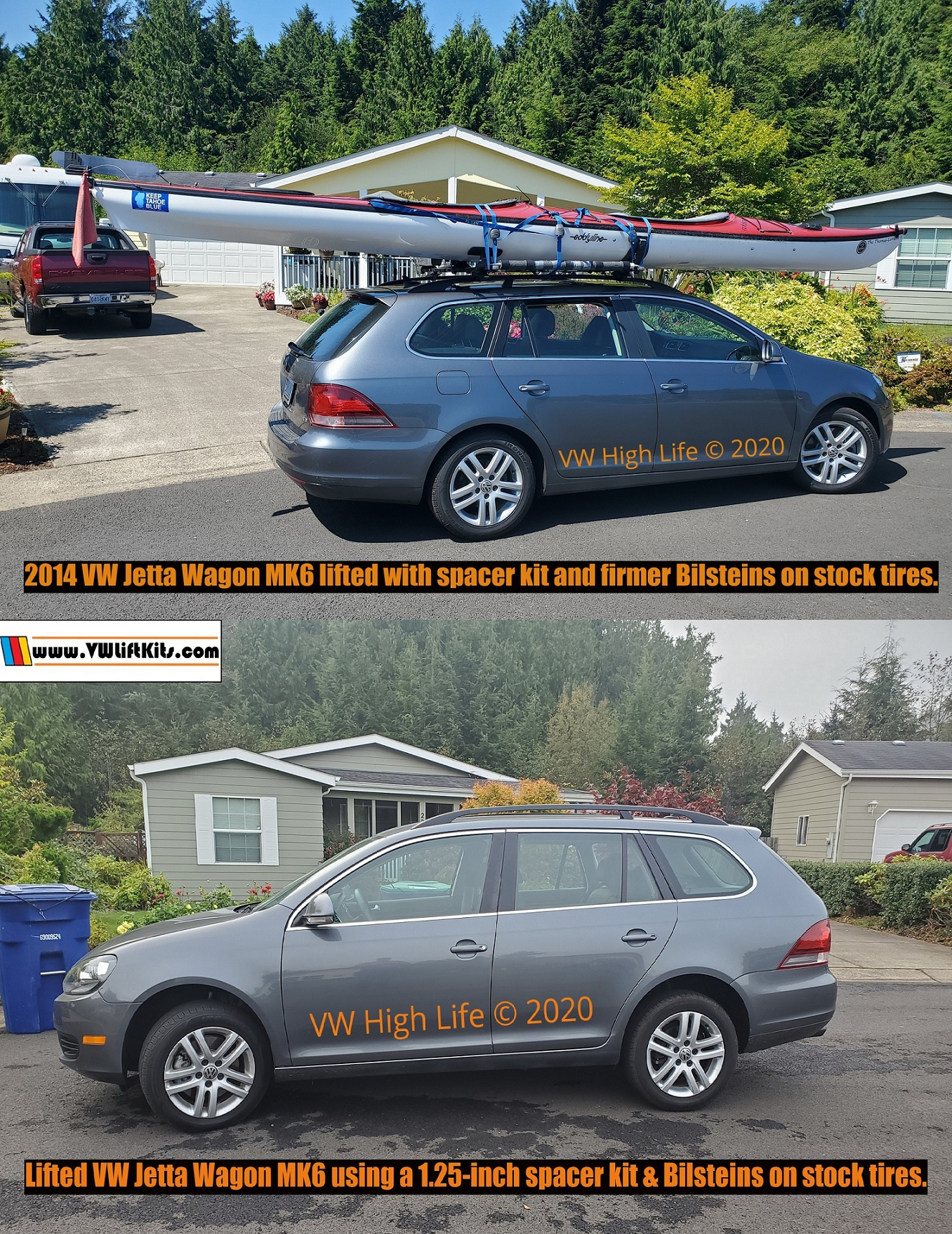 2014 Jetta Wagon lifted properly using a 1.25-inch spacer kit, firmer Bilsteins, new German brand top mounts & bump stops.