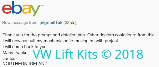 Comment from International Client about our unique International Customer Service. Selling the best bolt-on kits worldwide since 2014.