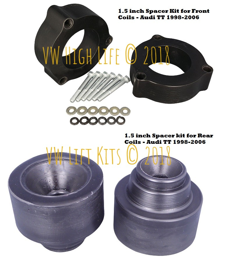 1.5 inch Spacer Lift Kit for Audi TT 1998-2006. Best Bolt On Lift Kit, no welding, no cutting, no drilling required.