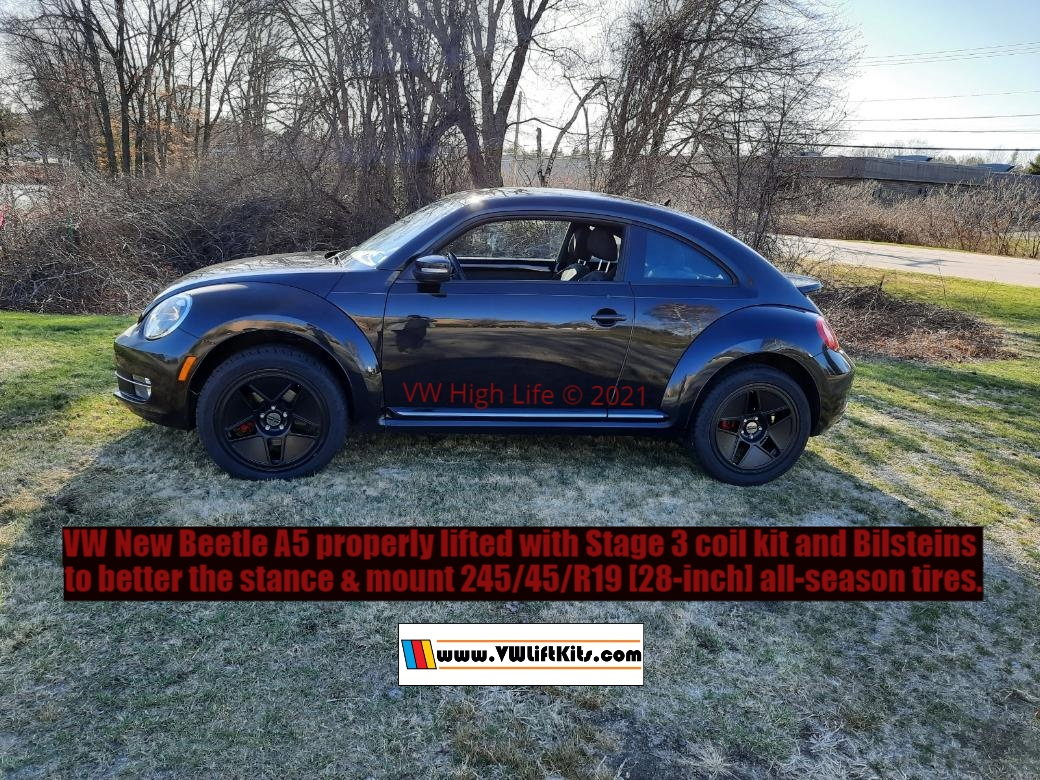 2013 VW New Beetle lifted properly with Stage 3 Coils and Bilsteins for 245/45/R19 (28-inch) all-season tires!