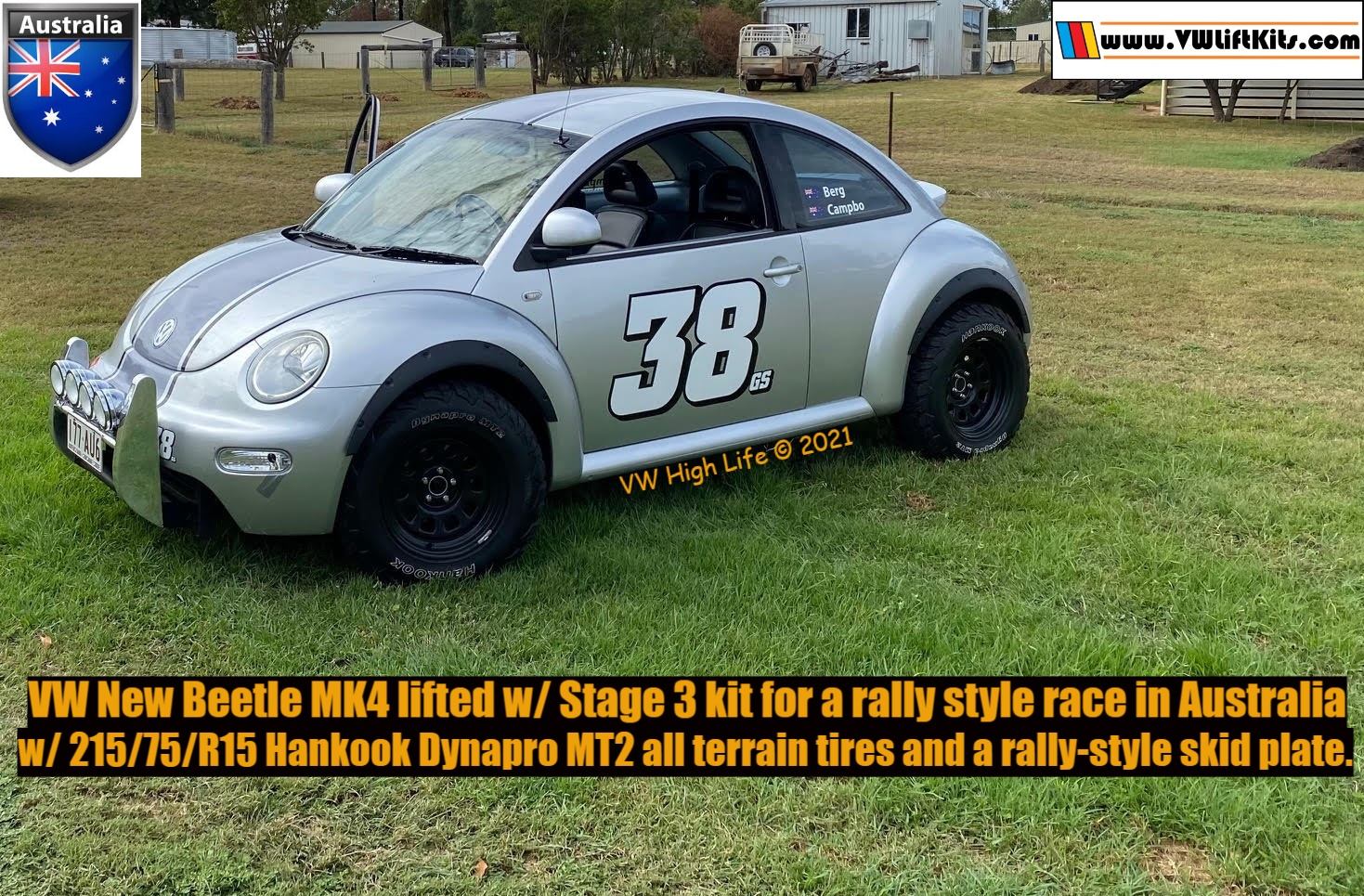 First VW Beetle lifted in Australia with 28-inch off road tires and a rally skid plate.