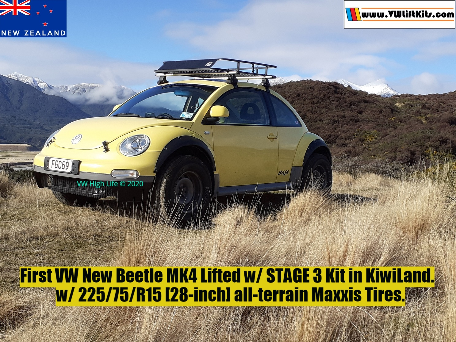 VW Beetle MK4 lifted w/ Stage 3 Kit and 28-inch Maxxis Tires! Congrats Richard and his COVID Beetle!.