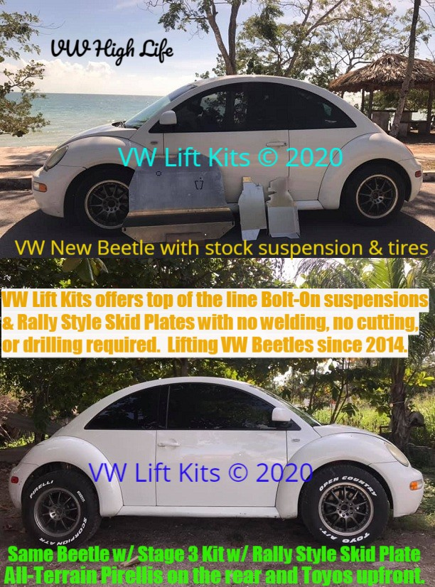 Lifting VW New Beetles since 2014 with passion! Tested by a international multi-motor sports race car driver. Best bolt on kit.