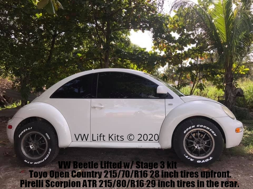 The Ultimate VW New Beetle lifted with Stage 3 kit sporting 28 inch Toyos and 29 inch Pirelli all terrain tires!