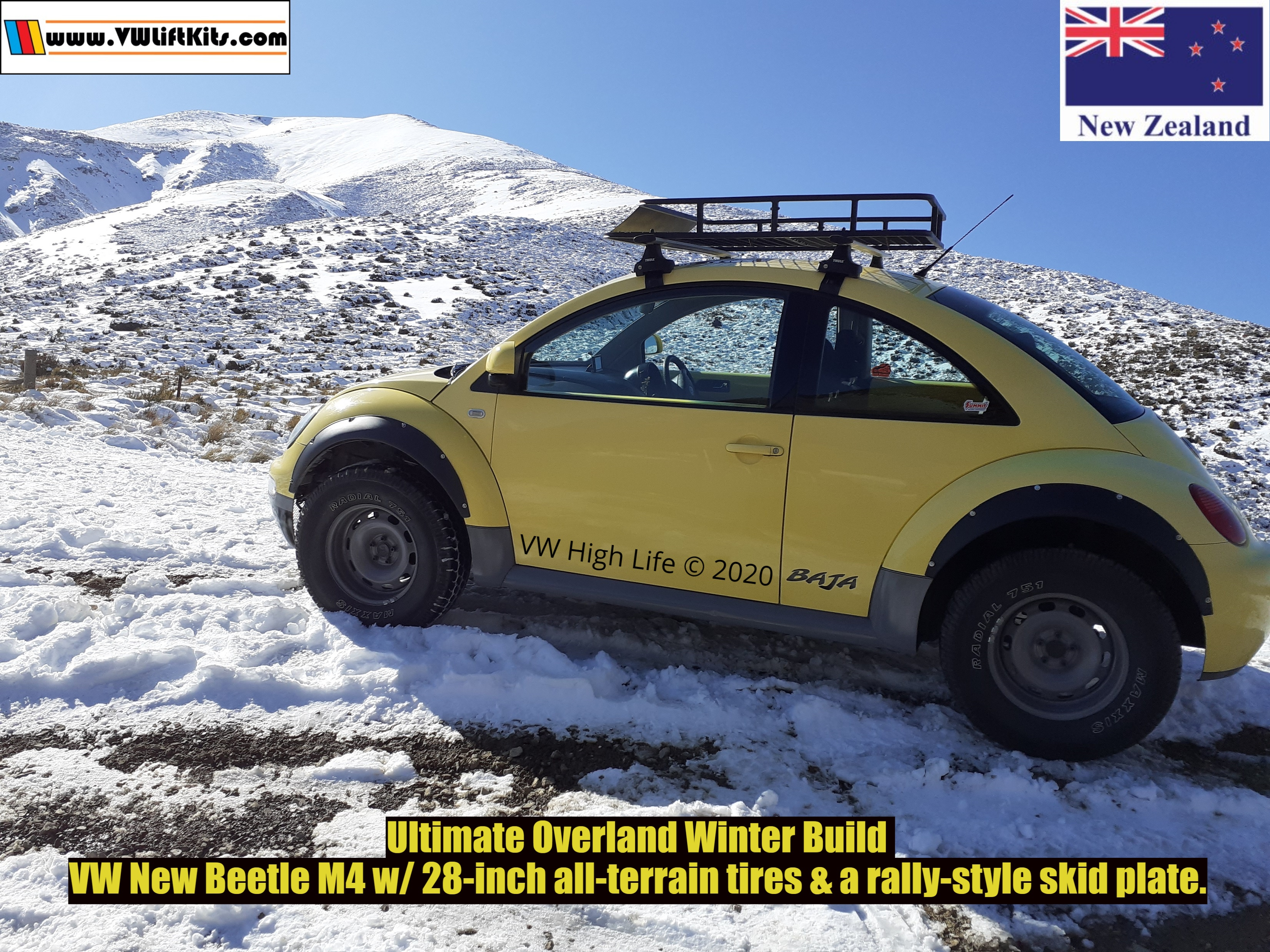 Richard's infamous COVID Beetle wheeling in KiwiLand with the VW High Life Winter Rough Road Package.