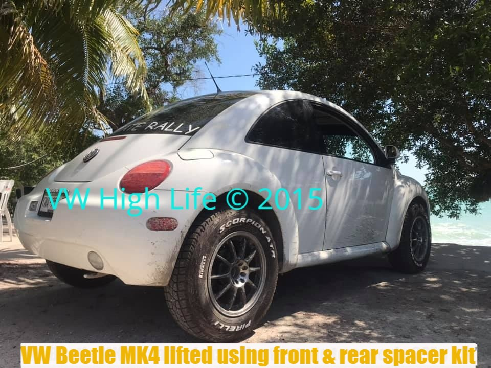 VW Beetle MK4 lifted with the best bolt on suspension lift kit with Bilsteins