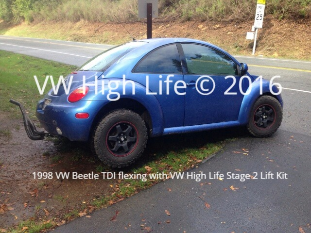 VW Beetle with 205/75/R15 Off Road Tires lifted 2 inches in the rear & front