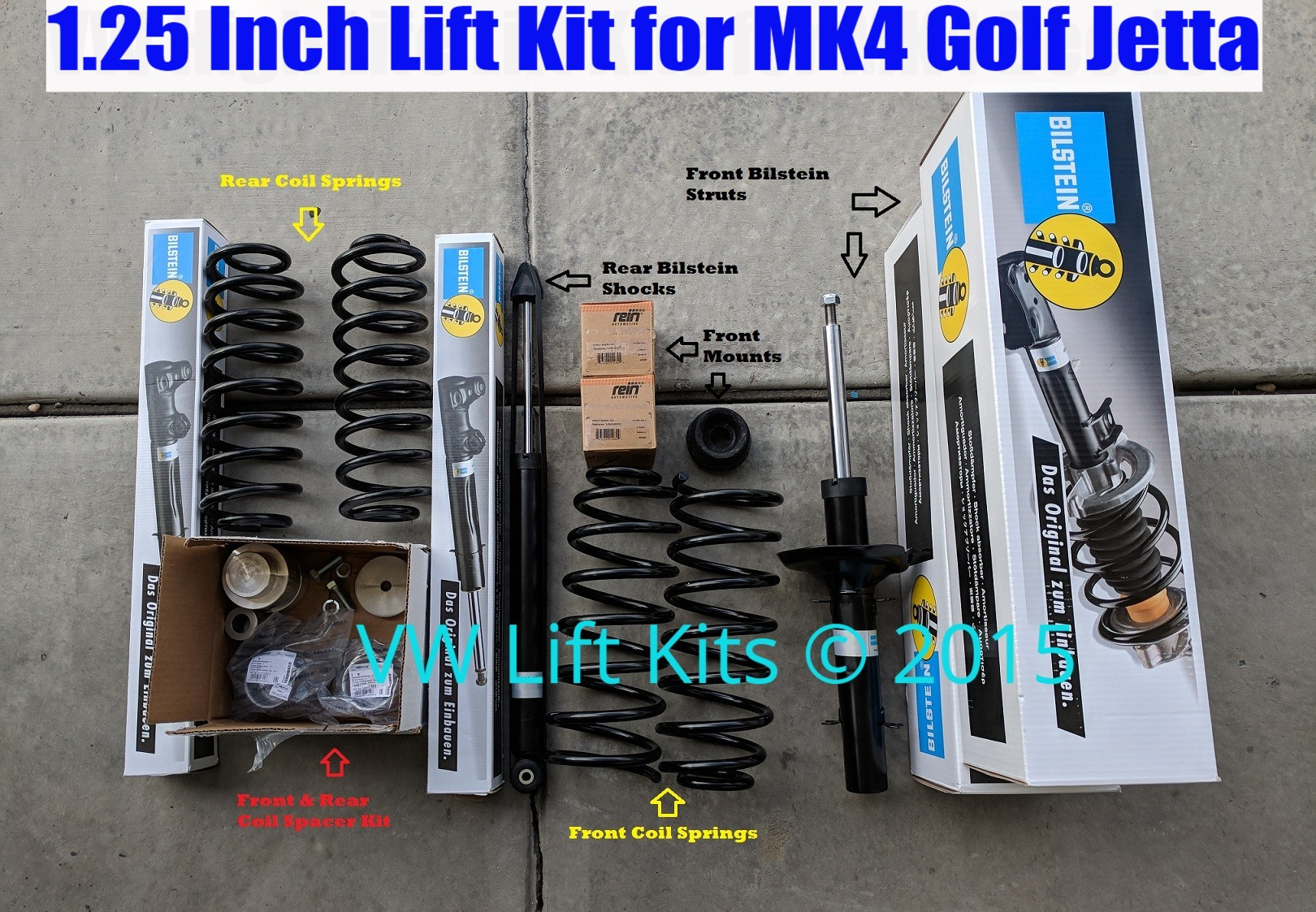 1.25-1.5 Inch Suspension Lift Kit with Spacers, Coils, and Bilsteins.