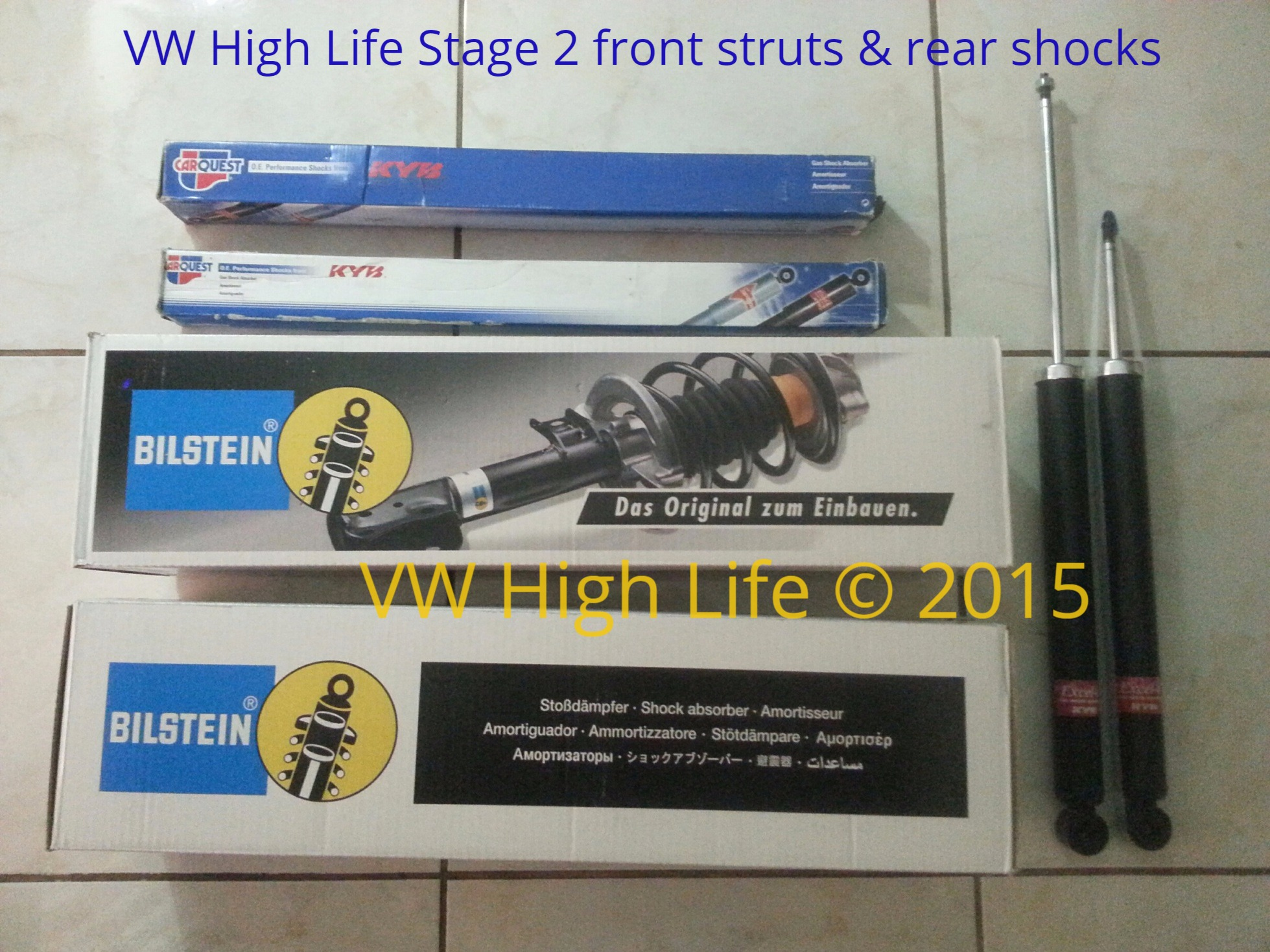 Stage 2 Kit with Front Bilstein Struts and Rear KYB shocks.  These are longer than stock Beetle gear.